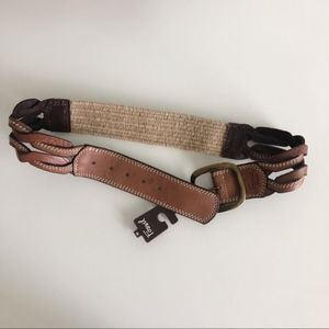 Fossil | Leather Braid Stretch Tan Belt Size Med